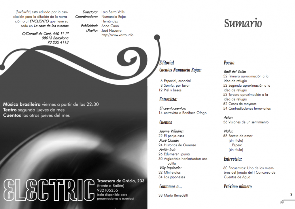 magazine layout - double page for the first issue of Siwsiwez magazine - Index