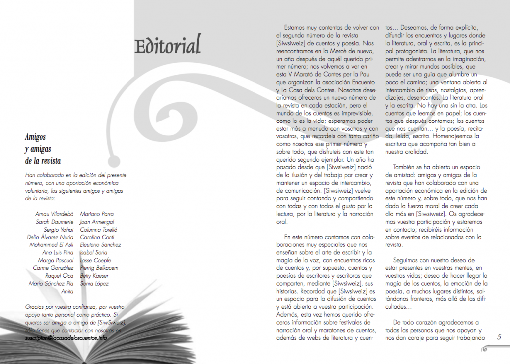 magazine layout - double page for the first issue of Siwsiwez magazine - Editorial